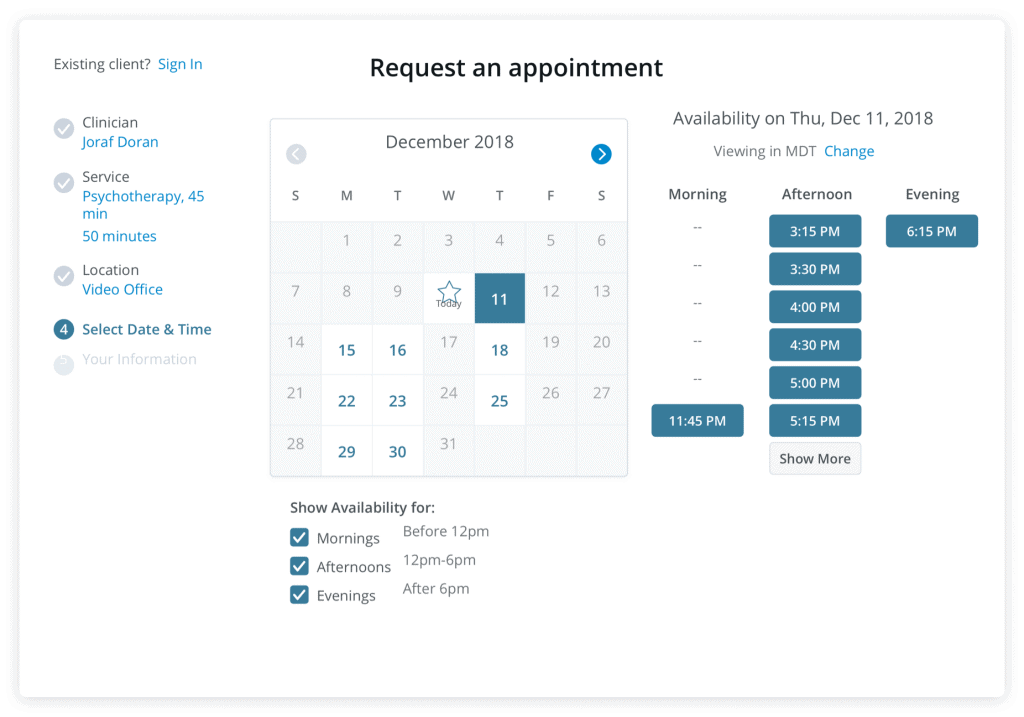 counselling booking widget calendar appointment